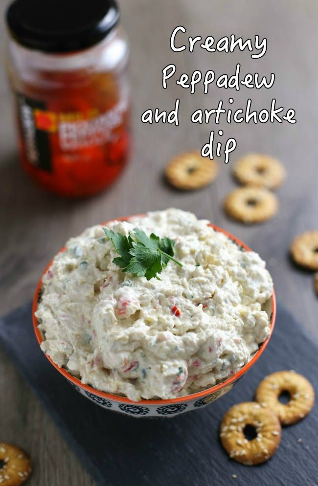 Creamy Peppadew and artichoke dip - creamy, tangy, spicy... the perfect party appetiser! Just make sure you have veggie sticks or pretzels available for dipping, otherwise people might start using spoons...