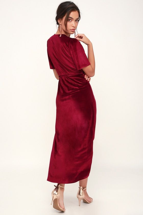 c2a46d97eb Amour Wine Red Velvet High-Low Wrap Dress in 2019