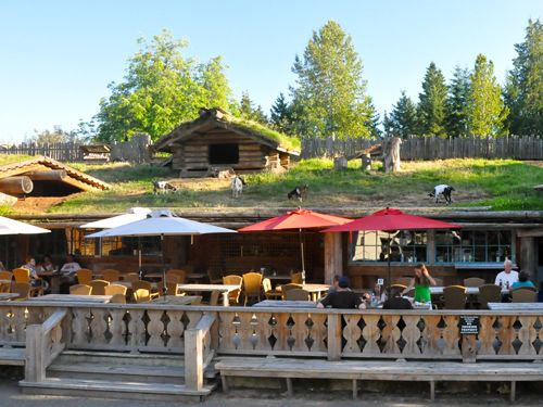 Goats on the roof at Coombs Country Market, Coombs, Vancouver Island, BC