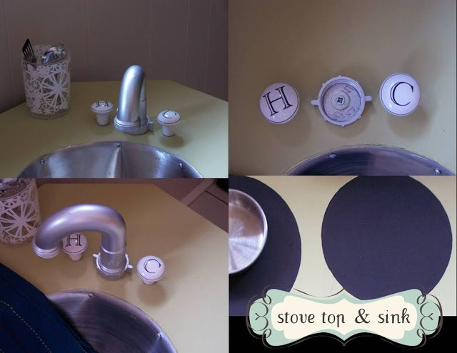 """Way cheaper to make the faucet out of a """"J Trap"""" than purchasing a new faucet for a diy play kitchen!"""