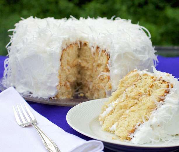 Buttery diabetic cake with fluffy frosting and plenty of shredded coconut … the taste is over the moon but the cake's low carb count is down to earth.