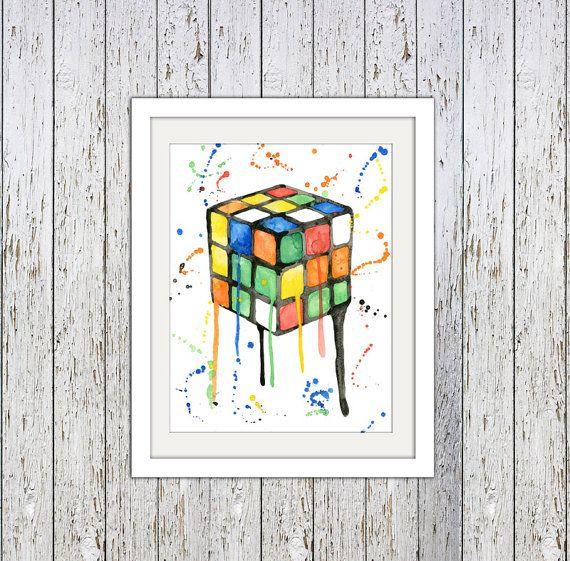 Original Rubik's Cube watercolor print. by SamsSimpleDecor on Etsy, $15.00