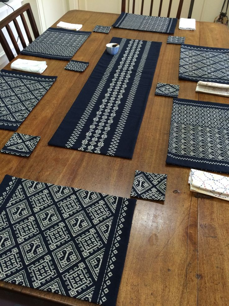 Kogin Printed Designs Table Setting From 1 Metre of Takumi Fabric | BeBe Bold