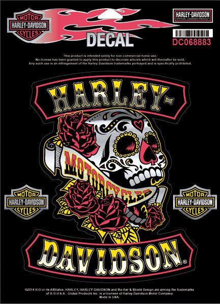 Original harley davidson aufkleber sugar skull decal dc068883