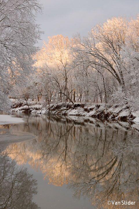 "Middle Island Creek, W. Virginia [Source: ""County Roads"" @ Van Slider Photography] -- #Snow #Rivers #MiddleIslandCreek #Water #WestVirginia #USA #NorthAmerica"