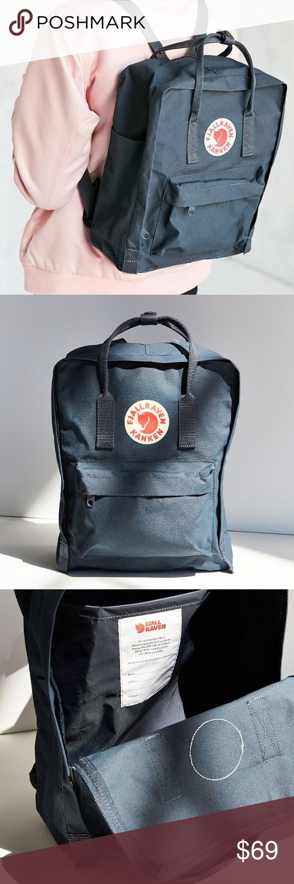 "NEW Authentic Fjallraven Kanken Backpack NAVY 13"" NEW Authentic Fjallraven Kanken Backpack / NAVY / Length 13"" Width 4.5"" Height 11"" Handle Drop 4"" / Polyvinyl / Purchased from Urban Outfitters Fjallraven Bags Backpacks"