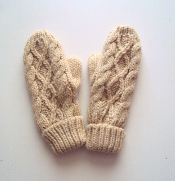 Knit Winter Gloves Cable Knit Mittens Winter Beige Mittens Fleece Lined Wool Blended Cozy Gloves Fashion Accessories