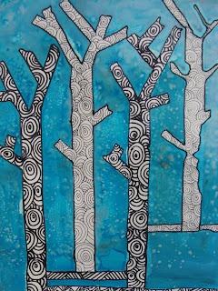 Winter Sticky Tape Trees: masking tape, ink, salt and doodles. Gr.4