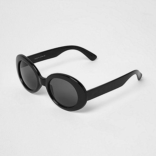 L2017 Black oval smoke lens sunglasses