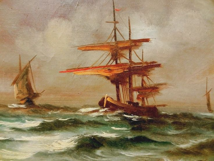 Old  Signed Oil on Canvas Painting Boats on Stormy Sea Seascape