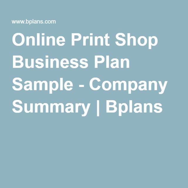 Online Print Shop Business Plan Sample