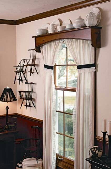 Wooden Window Valances : Curtains pulled back way up high cornice shelf window