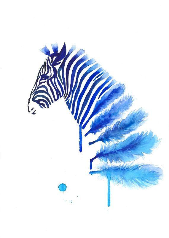 Blue Zebra Art Print A3, Large Wall Art Home Decor, Feather Art, Modern art, Zebra Feather Watercolor