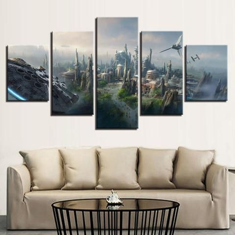 5 Pieces Star Wars Scenery Millennium Falcon Poster Wall Art