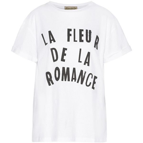 Etre Cecile Fleur De La Romance printed cotton T-shirt ($56) ❤ liked on Polyvore featuring tops, t-shirts, white, cotton t shirt, relaxed tee, relaxed fit tops, relax t shirt and white cotton tee