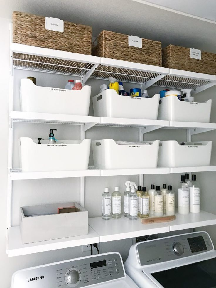 Simple Diy Updated Shelving For A Small Laundry Room Laundry