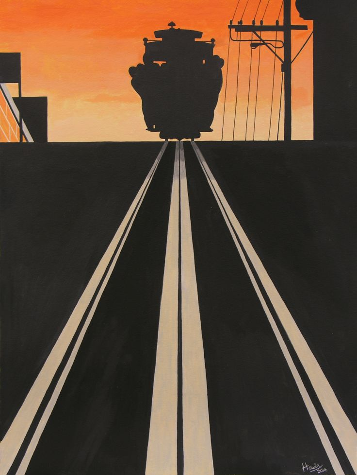 """""""Tram car at Sunset"""" - commuters slowly make their way home aboard one of San Francisco's old tramcars. Medium: acrylic on 18"""" x 24"""" watercolor paper. Giclee prints available from: howiesartandsculpture.com (925)-482-5958"""