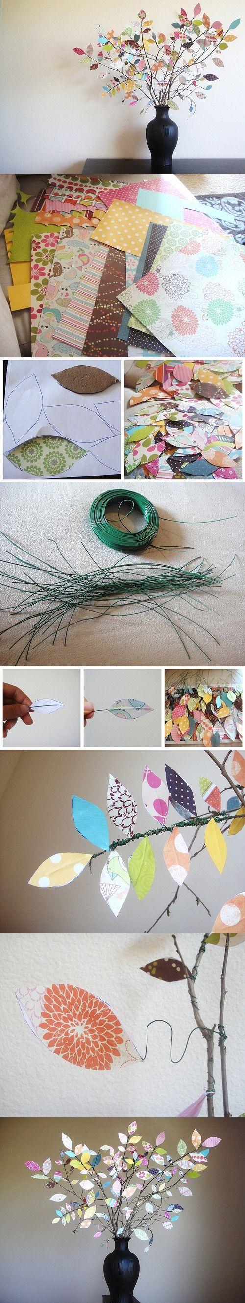 Árbol de scrapbooking o recortes de papel - Vía http://www.everydaymomideas.com/