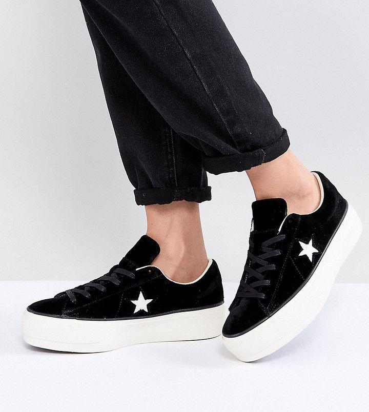 Converse One Star Platform Ox In Black