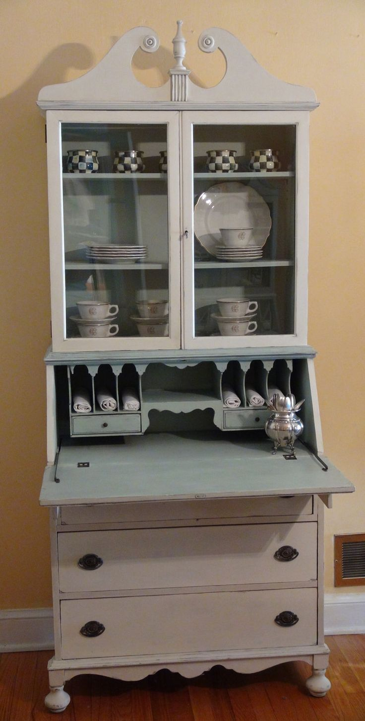 Antique Painted Secretary Desk In Duck Egg Blue And Old White 485 00 Via Etsy
