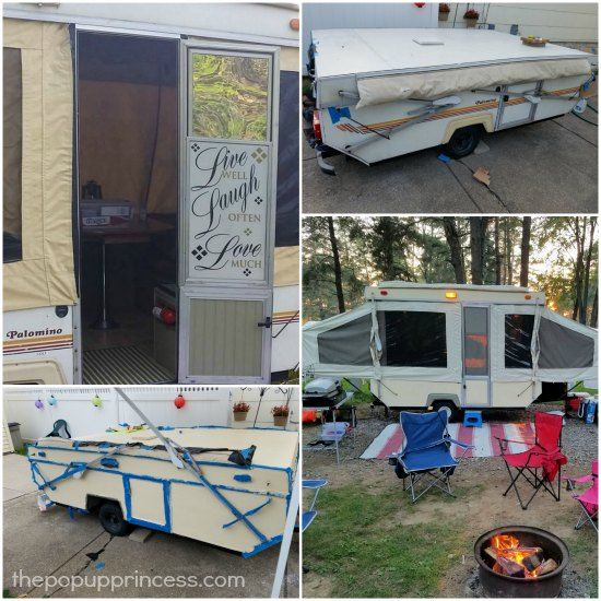Removing the dated decals and giving the exterior a fresh coat of paint can really give your old pop up camper new life.
