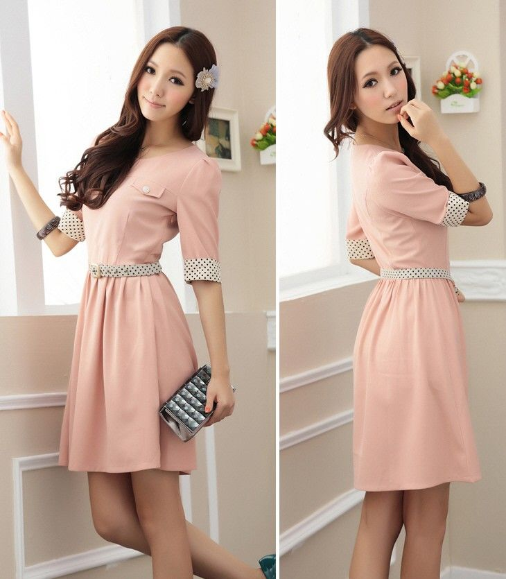 P6190 - Dot Print Dress (Pink) - Chiffon - Popular Styles - Malaysia Online Apparel Shop - Dressmi