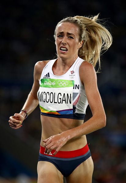 Eilish Mccolgan of Great Britain competes in the Women's 5000m Final and setting…