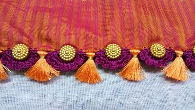 Kayal Tassel(Kuchu) Works: Golden Chakra Beads with Saree Tassel (Kuchu)