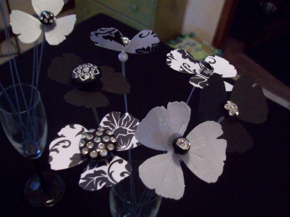 Rhinestone button paper flower centerpieces or alternative