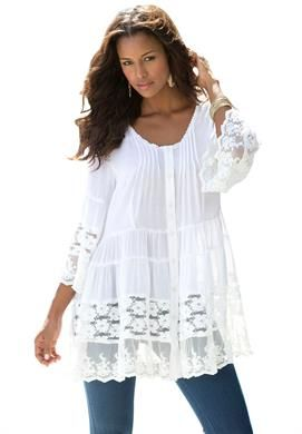 Illusion Lace Bigshirt by Denim 24/7 | Plus Size Roaman's Ultimate Summer Sale | OneStopPlus