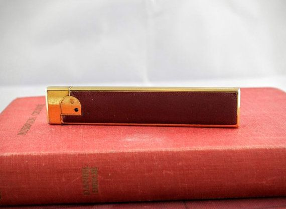 Vintage WIN Lighter  Retro Brass and Leather by LoAndCoVintage