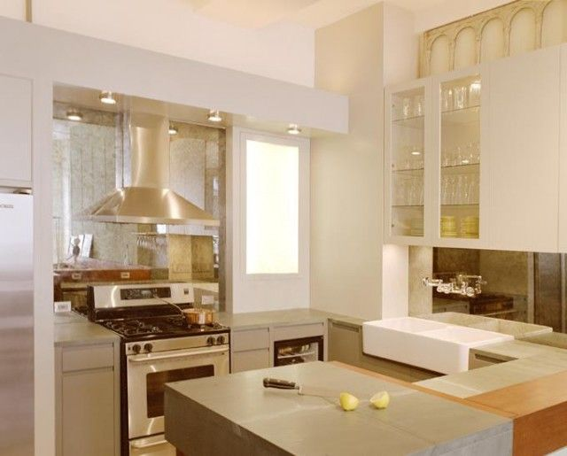 Tile mirror kitchen design lime modern stove lamps refrigerator idea