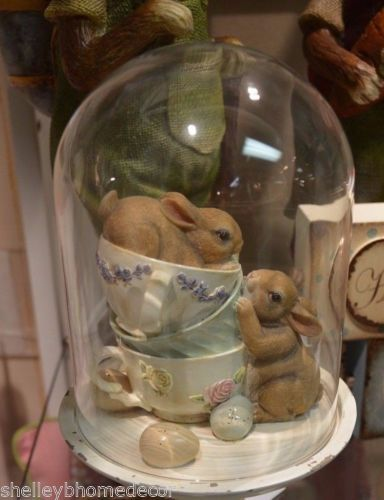 Rabbits inTeacups under Glass Dome SpringCloche