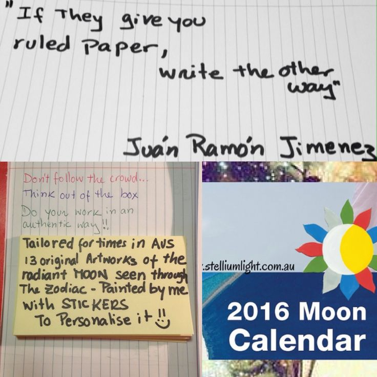"""2016 Moon Calendar is inspired by thinking outside of the box! #quote If they give you ruled paper, write the other way"""" Juan Ramón Jimenez. xx  This is the energy of Uranus - the Awakening planet⭐️⭐️"""