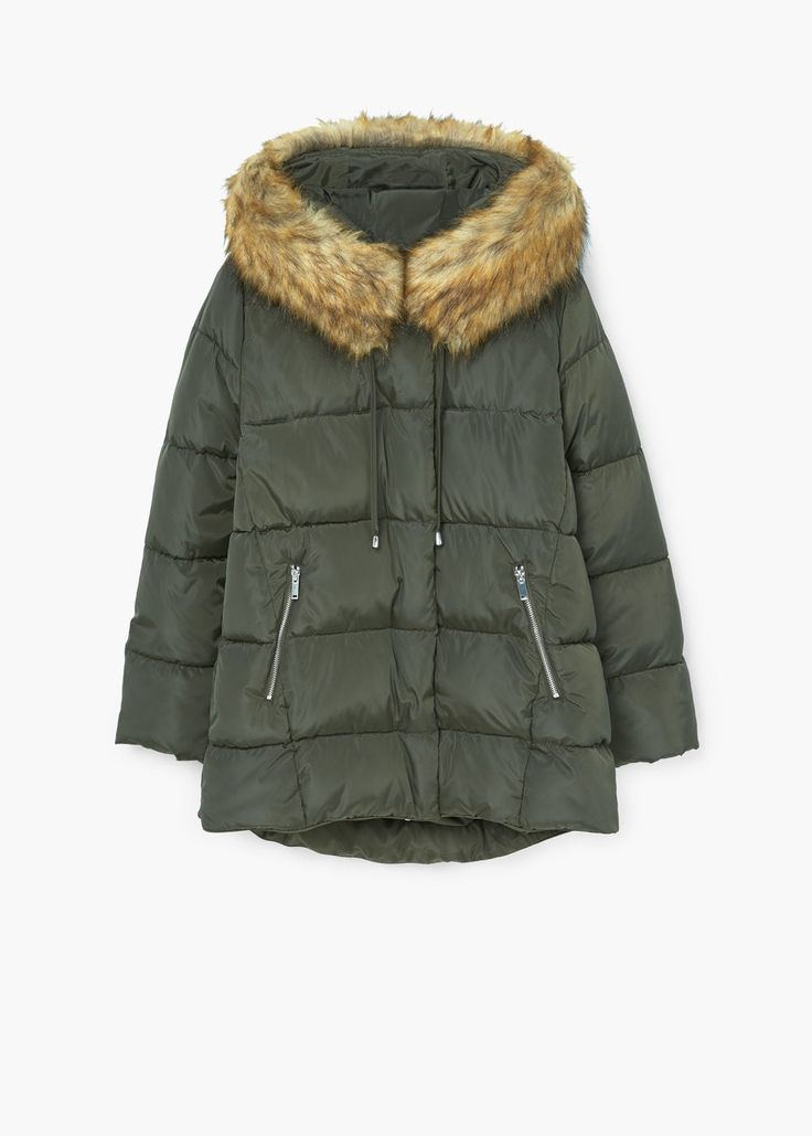 Fur collar quilted coat | MANGO