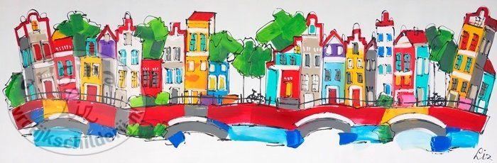 17 beste afbeeldingen over schilderijen van stadsgezichten paintings of cityscapes op - Kleur trap schilderij ...