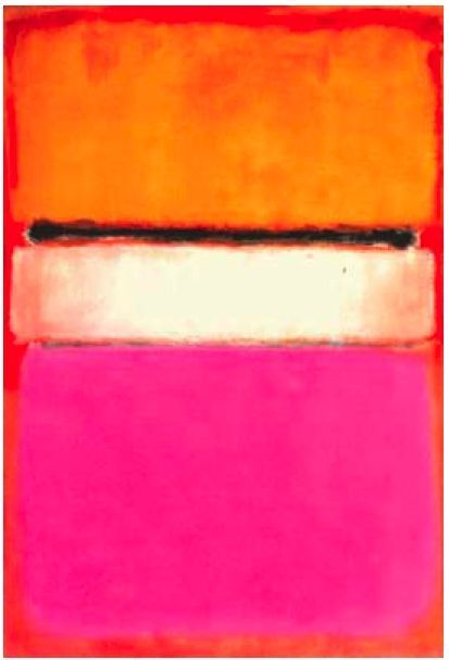 "Mark Rothko ~ ""White Center"" 1950  I like the use of warm and bright colors in this piece and i love the contrast of the white center with the black line above it to the rest of the painting."