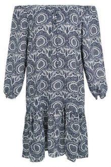Apricot Navy Abstract Print Bardot Dress New Look 220x330 Perfect Bardot Dresses For Summer