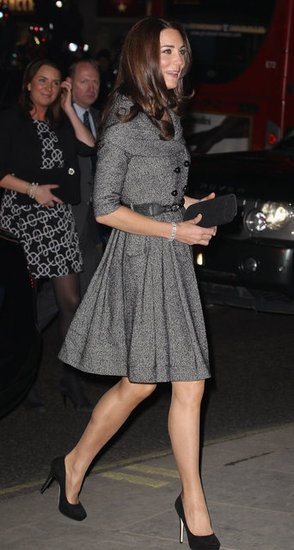 Kate Middleton in a gray dress