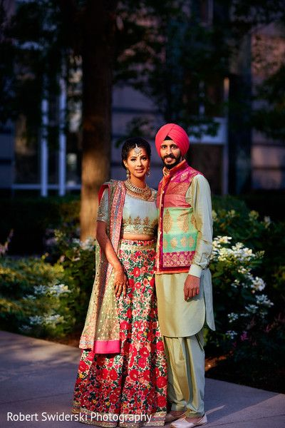 Sikh couple in sangeet outfits. http://www.maharaniweddings.com/gallery/photo/93516
