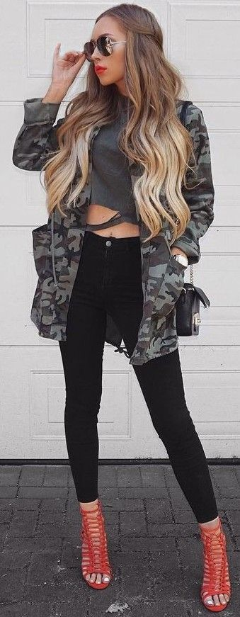 #summer #trendy #outfits | Camo Jacket + Grey + Black