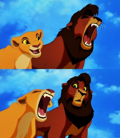 Kovu and Kiara roar. | The Lion King 2 Simba's Pride