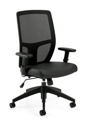 This ergonomically correct office chair with a ratchet back and synchro tilt mechanism encourages healthy computing habits and good posture. The 3191 model chair features a breathable mesh back and black Luxhide seat for supple support and long term durability.