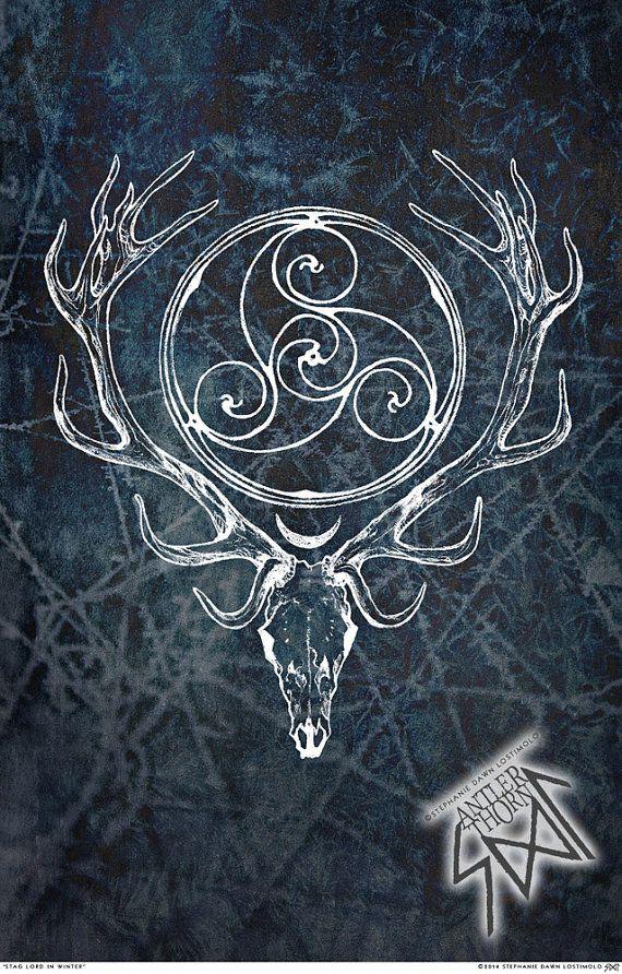 Stag Lord WINTER ISA Herne Cernunnos Celtic Spiral by AntlerThorn