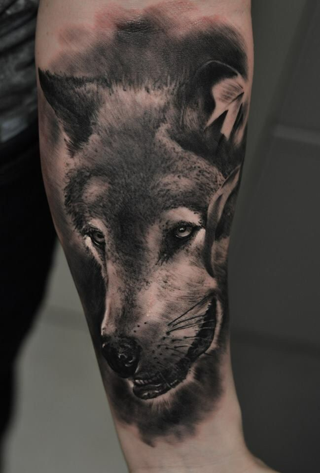 Wolf tattoo realistic black and grey
