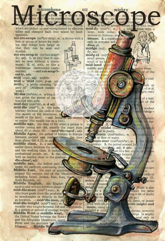 PRINT  Microscope Mixed Media Drawing on Distressed by flyingshoes, $35.00