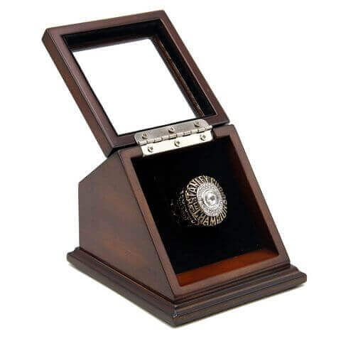 NHL 1985 Edmonton Oilers Stanley Cup Championship Replica Fan Ring with Wooden Display Case,