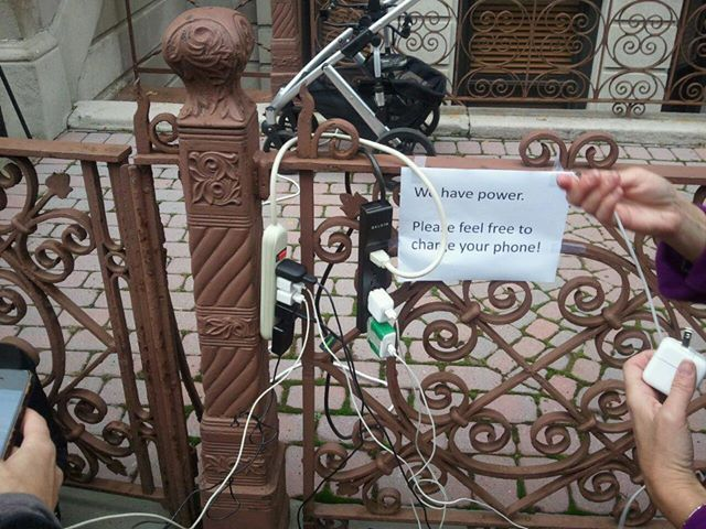 People Sharing Electricity after Hurricane Sandy