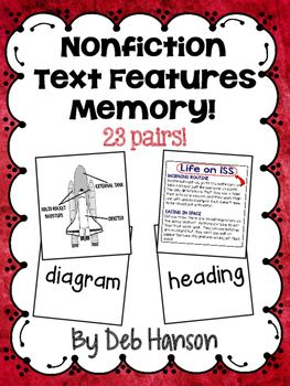 Nonfiction Text Feature Concentration Game: This is a hands-on game your students can play with a partner or small group to practice 23 text features commonly found in nonfiction text. Images of text features are on 23 cards. Students must find the matching text feature term.