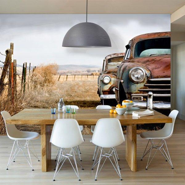 Vlies fotobehang antieke auto voor een #vintage uitstraling in de kamer